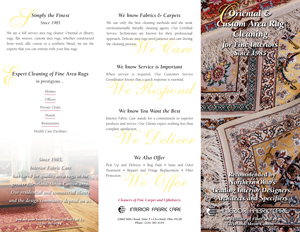 Oriental and Custom Area Rug Cleaning Brochure